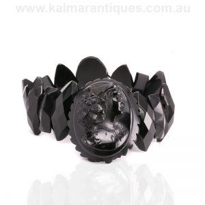 Antique Whitby Jet cameo bracelet from the Victorian era