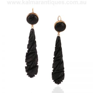 Elegant long Whitby jet earrings made in the 1870's