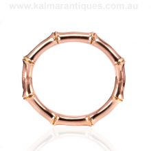 Antique rose gold bamboo style bangle made by Willis