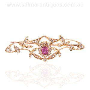 Antique pink sapphire and diamond brooch made by Willis and Sons