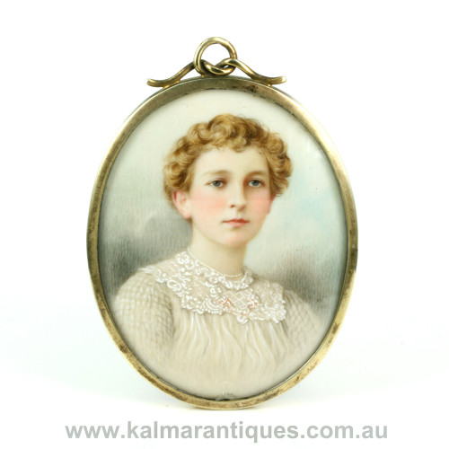 Antique hand painted Ada Whiting miniature on ivory