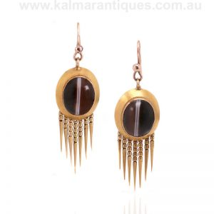 Antique agate earrings made in the Victorian era of the 1870's