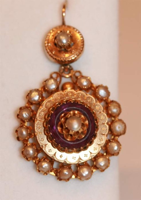 Victorian amethyst and seed pearl cluster earrings
