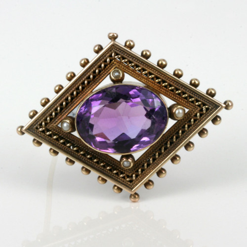 Antique amethyst & pearl brooch.