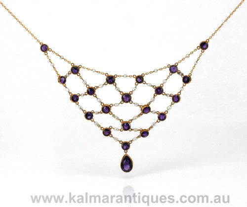 Art Deco amethyst and pearl fringe necklace