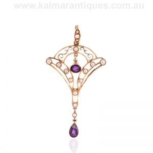 Elegant amethyst and pearl pendant made in the early Art Deco period