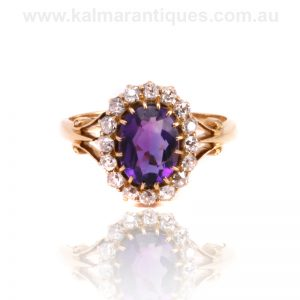 Antique amethyst and diamond cluster ring dating from the 1890's