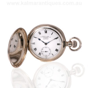 Antique sterling silver pocket watch retailed by Angus & Coote
