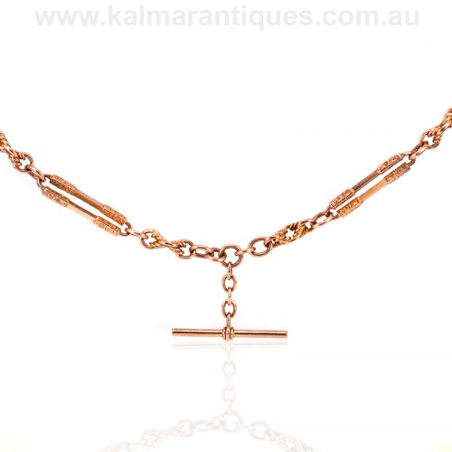 Fancy 9ct rose gold antique double Albert fob chain