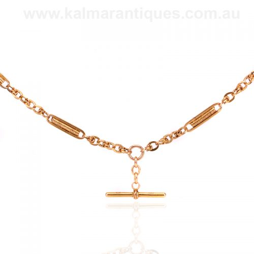 Antique 15ct gold Albert chain by Australian maker Lawrence