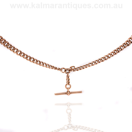 Antique rose gold Albert fob necklace