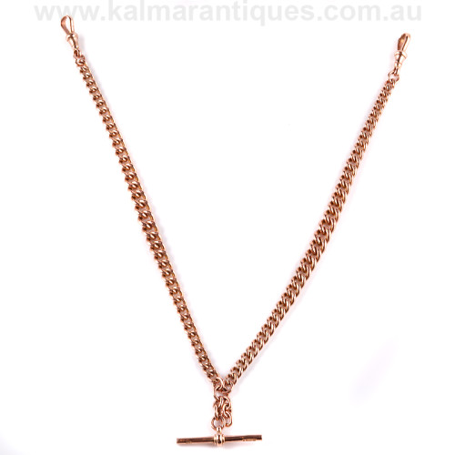Antique rose gold Albert fob watch chain