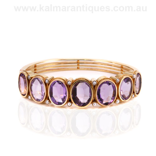 18ct gold antique amethyst and pearl hinged bangle