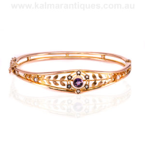 Edwardian era antique rose gold amethyst and pearl bangle