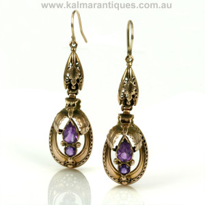 Antique amethyst earrings from the Victorian era
