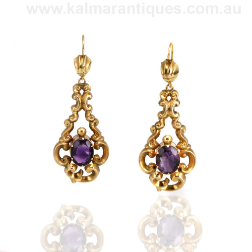 Antique amethyst drop earrings