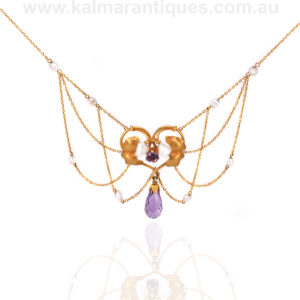 Art Nouveau amethyst and pearl fringe necklace