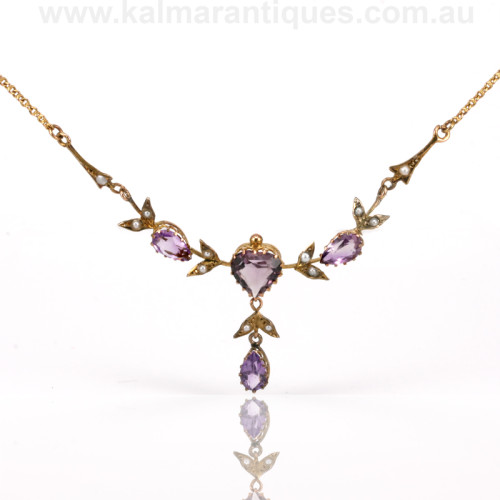 Antique amethyst and pearl necklace