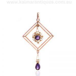 9ct rose gold antique amethyst pendant from the Edwardian era