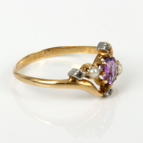 French antique amethyst, pearl and diamond ring.