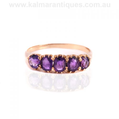 Antique rose gold 5 stone amethyst ring