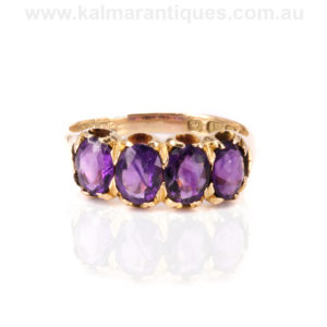 18ct yellow gold four stone amethyst ring made in 1922