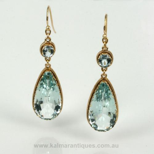 Antique aquamarine earrings