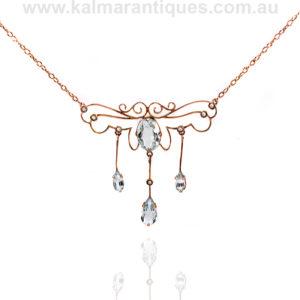 Antique aquamarine and pearl necklace