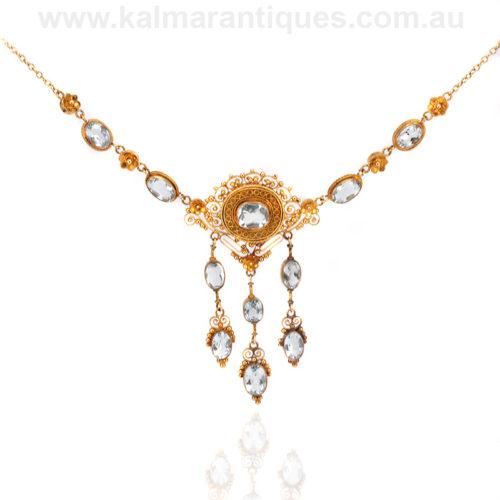 German Antique aquamarine necklace