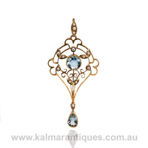 Antique aquamarine and pearl pendant