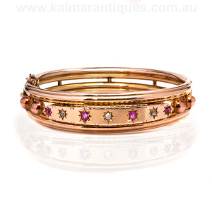 Antique ruby and diamond bangle