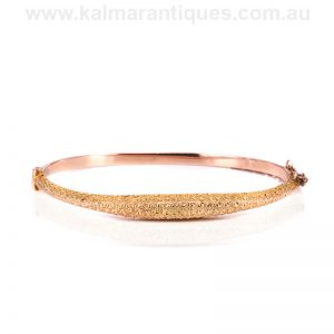 Antique rose gold hand engraved bangle made in 1892