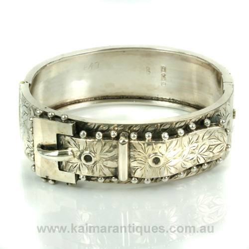 Antique sterling silver buckle bangle
