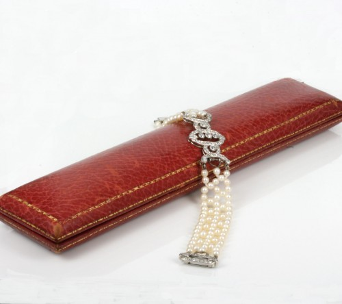 Art Deco pearl and diamond bracelet in original box