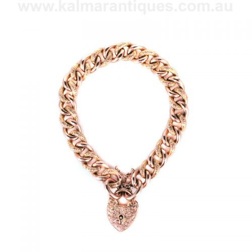Antique 9ct rose gold night and day curb link bracelet made in 1902