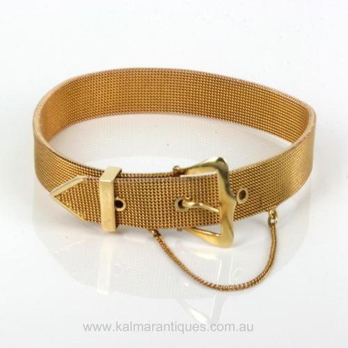 Antique 15ct gold mesh buckle style bracelet