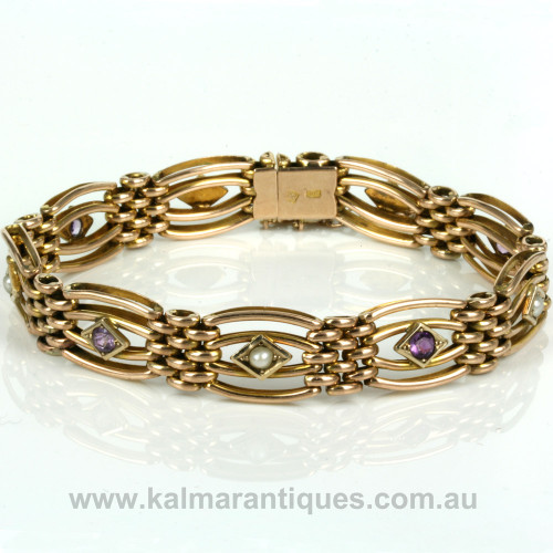 Edwardian era antique gate bracelet with amethysts and pearls