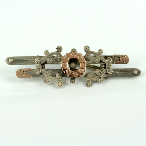 Antique silver and rose gold brooch.