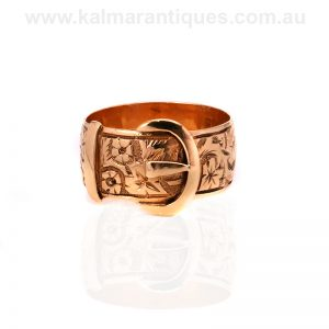 18ct gold hand engraved buckle ring made in 1910