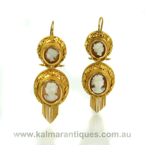 Rare antique double cameo earrings