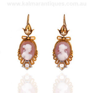 Antique cameo and enamel earrings