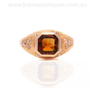 18ct gold antique 19th century citrine and diamond ring