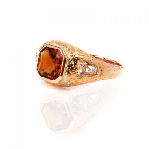 18ct gold antique 19th century citrine and diamond ring