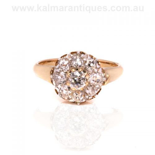 Antique diamond cluster engagement ring from the 1870's