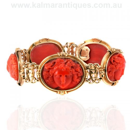 19th century antique coral bracelet made in France