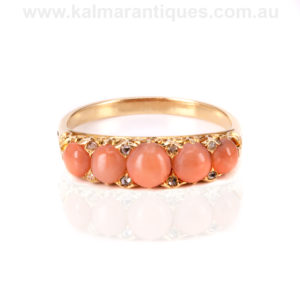 18ct gold antique coral ring set with 8 rose cut diamonds