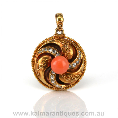 Antique coral and diamond locket