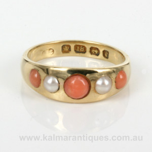 Antique coral and pearl ring made in 1879