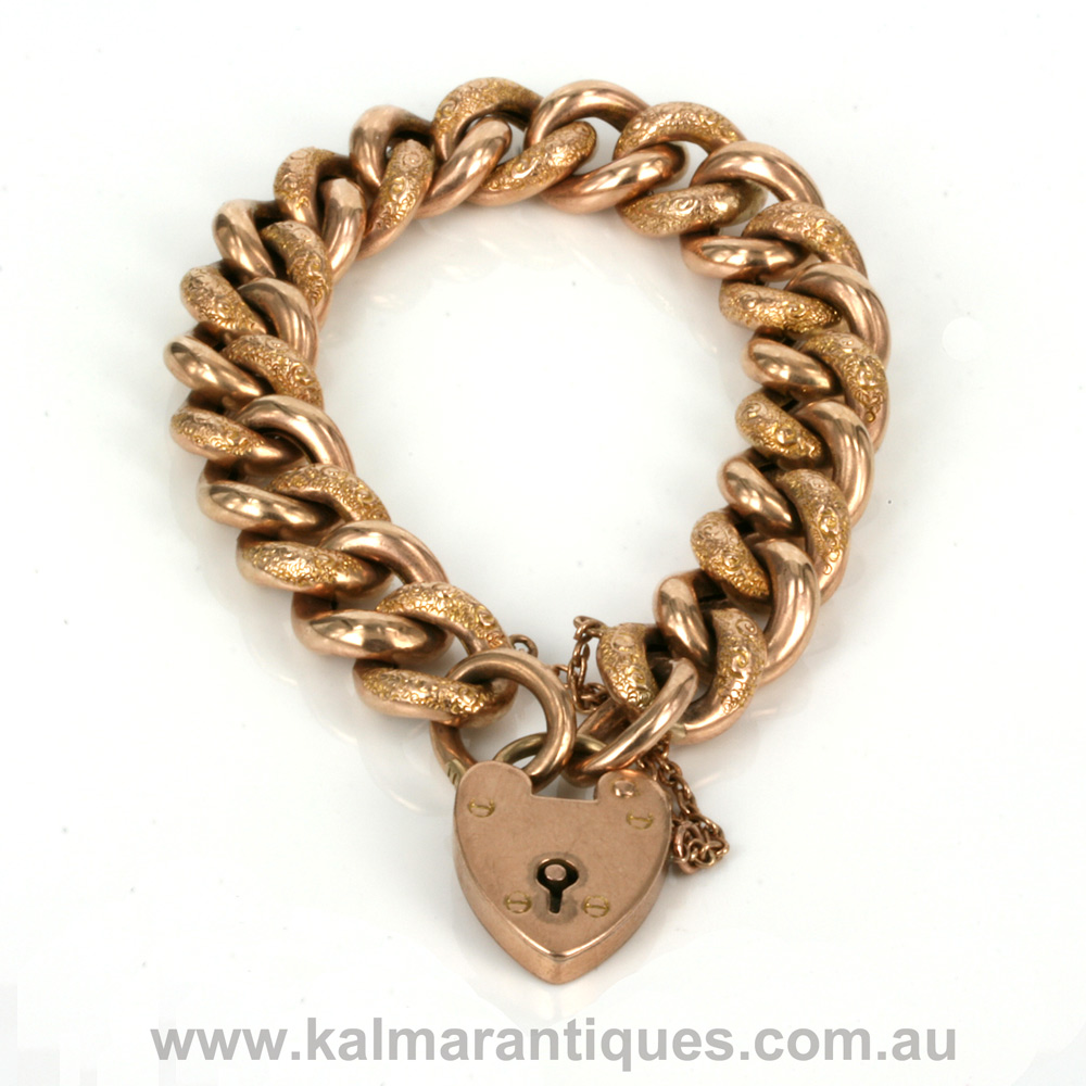 Antique Rose Gold Night And Day Curb Link Bracelet