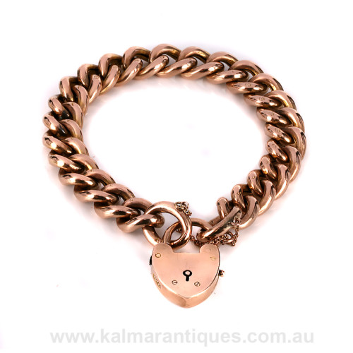 Antique rose gold curb link padlock bracelet